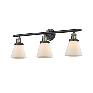Small Cone Black Brushed Brass Three-Light Bath Vanity with Matte White Cased Cone Glass