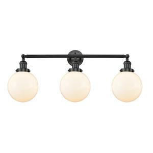 Beacon Matte Black Three-Light Bath Vanity with Eight-Inch Matte White Cased Globe Glass
