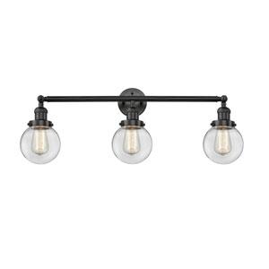 Beacon Matte Black Three-Light LED Bath Vanity with Six-Inch Clear Globe Glass