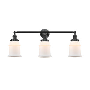Franklin Restoration Oil Rubbed Bronze 10-Inch Three-Light LED Bath Vanity with Matte White Canton Shade