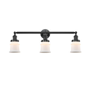 Franklin Restoration Oil Rubbed Bronze 10-Inch Three-Light LED Bath Vanity with Matte White Small Canton Shade