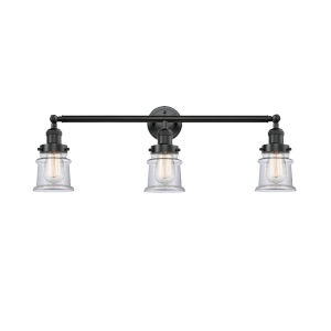 Franklin Restoration Oil Rubbed Bronze 30-Inch Three-Light LED Bath Vanity with Clear Canton Shade