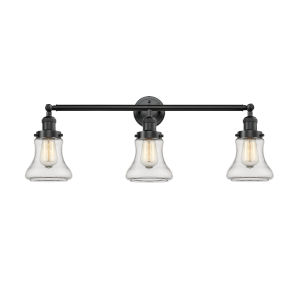 Bellmont Oiled Rubbed Bronze 30-Inch Three-Light LED Bath Vanity with Clear Hourglass Glass