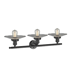 Halophane Oiled Rubbed Bronze 33-Inch Three-Light LED Bath Vanity with Halophane Cone Glass