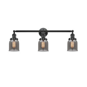 Small Bell Oiled Rubbed Bronze 30-Inch Three-Light LED Bath Vanity with Smoked Bell Glass