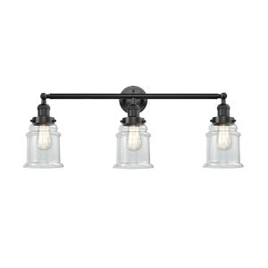 Canton Oil Rubbed Bronze Three-Light Bath Vanity with Clear Glass
