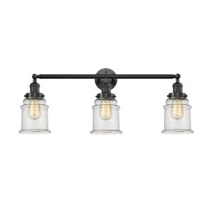 Canton Oil Rubbed Bronze Three-Light Bath Vanity with Seedy Glass