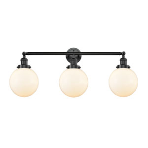 Beacon Oil Rubbed Bronze Three-Light Bath Vanity with Eight-Inch Matte White Cased Globe Glass