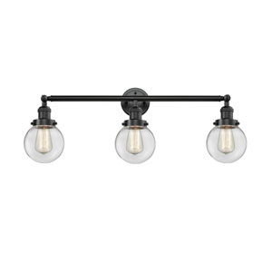 Beacon Oil Rubbed Bronze Three-Light LED Bath Vanity with Six-Inch Clear Globe Glass