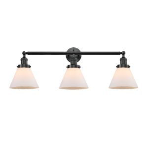 Large Cone Oil Rubbed Bronze Three-Light LED Bath Vanity with Matte White Cased Glass