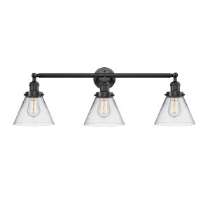 Large Cone Oil Rubbed Bronze Three-Light Bath Vanity with Clear Glass