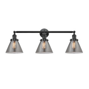 Large Cone Oil Rubbed Bronze Three-Light Bath Vanity with Smoked Glass