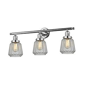 Chatham Polished Chrome Three-Light Bath Vanity with Clear Fluted Novelty Glass