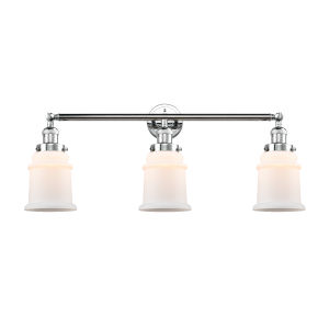 Franklin Restoration Polished Chrome 30-Inch Three-Light LED Bath Vanity with Matte White Canton Shade