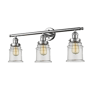 Canton Polished Chrome Three-Light Bath Vanity with Clear Bell Glass