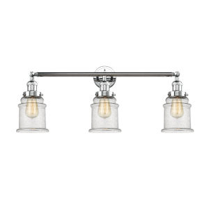 Canton Polished Chrome Three-Light LED Bath Vanity with Seedy Bell Glass