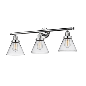 Large Cone Polished Chrome Three-Light LED Bath Vanity with Clear Cone Glass
