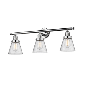 Small Cone Polished Chrome Three-Light LED Bath Vanity with Seedy Cone Glass