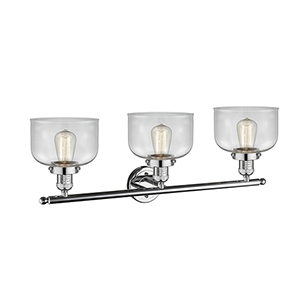 Large Bell Polished Chrome Three-Light Bath Vanity with Clear Dome Glass