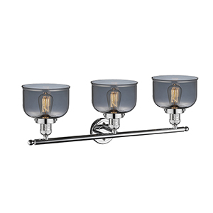 Large Bell Polished Chrome Three-Light LED Bath Vanity with Smoked Dome Glass
