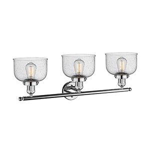 Large Bell Polished Chrome Three-Light LED Bath Vanity with Seedy Dome Glass