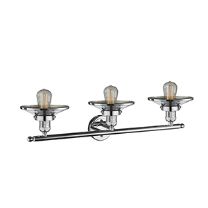 Railroad Polished Chrome Three-Light LED Bath Vanity