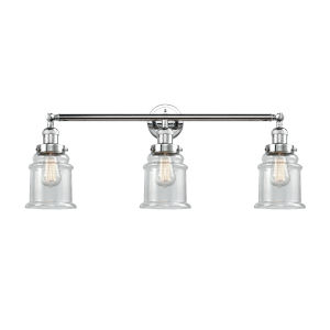 Canton Polished Chrome Three-Light LED Bath Vanity with Clear Glass