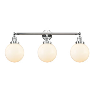 Beacon Polished Chrome Three-Light Bath Vanity with Eight-Inch Matte White Cased Globe Glass