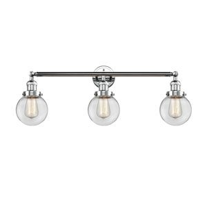 Beacon Polished Chrome Three-Light LED Bath Vanity with Six-Inch Clear Globe Glass