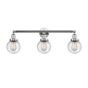 Beacon Polished Chrome Three-Light LED Bath Vanity with Six-Inch Seedy Globe Glass