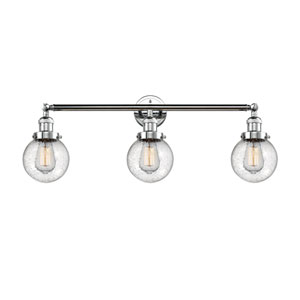 Beacon Polished Chrome Three-Light Bath Vanity with Six-Inch Seedy Globe Glass
