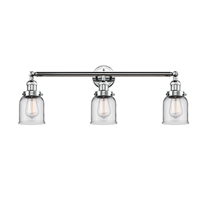 Small Bell Polished Chrome Three-Light Reversible Bath Vanity with Clear Bell Glass