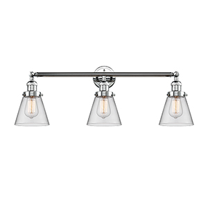 Small Cone Polished Chrome Three-Light Reversible Bath Vanity with Clear Cone Glass
