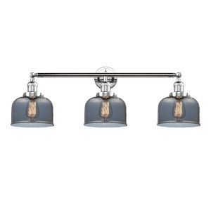Large Bell Polished Chrome Three-Light Bath Vanity with Smoked Glass