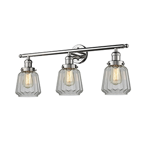 Chatham Polished Nickel Three-Light LED Bath Vanity with Clear Fluted Novelty Glass