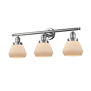 Fulton Polished Nickel Three-Light LED Bath Vanity with Matte White Cased Sphere Glass