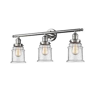Canton Polished Nickel Three-Light LED Bath Vanity with Seedy Bell Glass