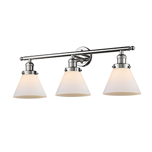 Large Cone Polished Nickel Three-Light LED Bath Vanity with Matte White Cased Cone Glass