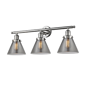 Large Cone Polished Nickel Three-Light LED Bath Vanity with Smoked Cone Glass