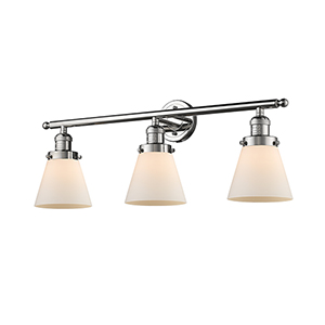 Small Cone Polished Nickel Three-Light LED Bath Vanity with Matte White Cased Cone Glass