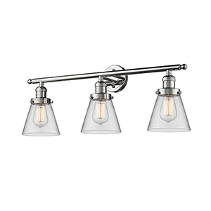 Small Cone Polished Nickel Three-Light LED Bath Vanity with Clear Cone Glass