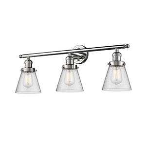 Small Cone Polished Nickel Three-Light Bath Vanity with Seedy Cone Glass