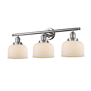 Large Bell Polished Nickel Three-Light LED Bath Vanity with Matte White Cased Dome Glass