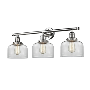 Large Bell Polished Nickel Three-Light LED Bath Vanity with Clear Dome Glass