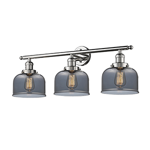 Large Bell Polished Nickel Three-Light LED Bath Vanity with Smoked Dome Glass