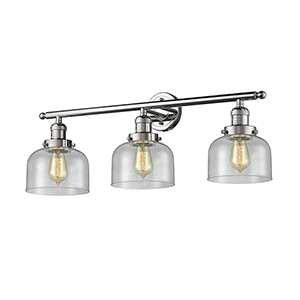 Large Bell Polished Nickel Three-Light LED Bath Vanity with Seedy Dome Glass