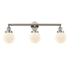 Beacon Polished Nickel Three-Light LED Bath Vanity with Six-Inch Matte White Cased Globe Glass