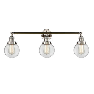 Beacon Polished Nickel Three-Light Bath Vanity with Six-Inch Clear Globe Glass