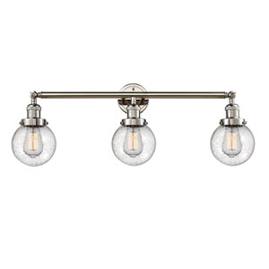 Beacon Polished Nickel Three-Light LED Bath Vanity with Six-Inch Seedy Globe Glass