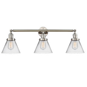 Large Cone Polished Nickel Three-Light Bath Vanity with Clear Glass